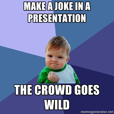 A meme showing the fun part that could be added in a monotonous presentation.